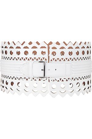 Alaïa Leather Corset Belt in Blanc Optique
