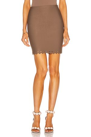 Alaïa Scalloped Edge Bodycon Mini Skirt in Savane