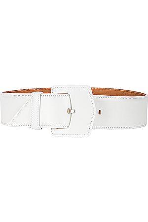 Alaïa Medium Oversized Geometric Buckle Belt in Blanc Optique