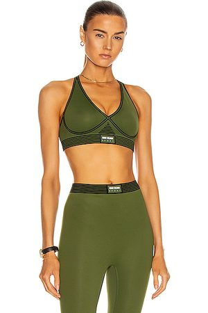 Adam Selman Sport Bonded Active V-Neck Bra in Tactical