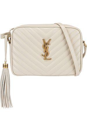 Saint Laurent Medium Lou Monogramme Bag in Crema Soft