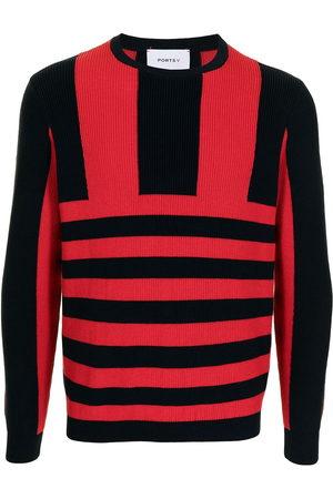 Ports V Stripe-print knitted jumper