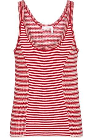 Chloé Women Tank Tops - Striped knit cotton tank top
