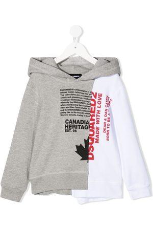 Dsquared2 Boys Hoodies - Two-tone slogan-print hoodie