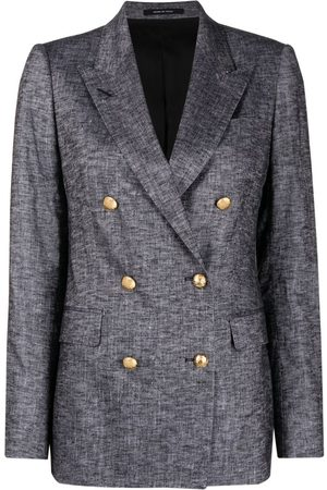 TAGLIATORE Women Blazers - Double-breasted linen-blend blazer