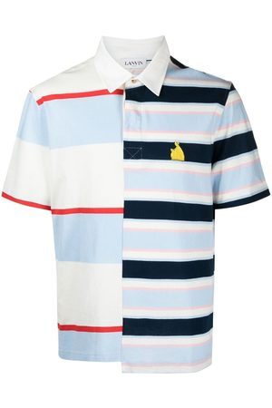 Lanvin Men Polo Shirts - Rugby patchwork striped polo shirt