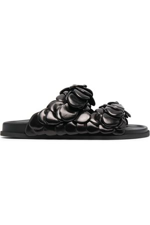 VALENTINO GARAVANI Men Sandals - Floral-embellished leather slides