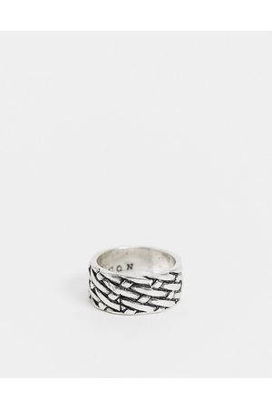 Icon Brand Men Rings - Band ring in with woven texture