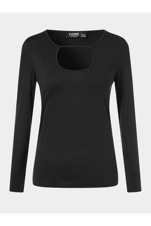 YOINS Cut Out Crew Neck Long Sleeves Tee