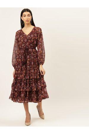 20Dresses Women Printed Dresses - Women Maroon Printed Tiered A-Line Dress