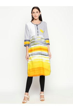 SALWAR STUDIO Women Grey & Yellow Printed Handloom Kurta