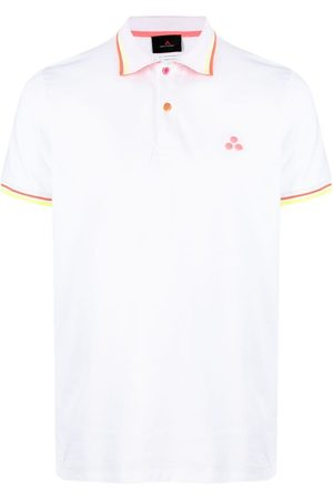 Peutery Men Polo Shirts - Stripe-trim embroidered polo shirt