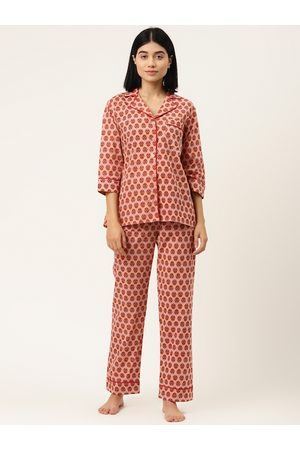 MABISH by Sonal Jain Women Peach-Coloured & Red Ethnic Motifs Print Pure Cotton Night suit
