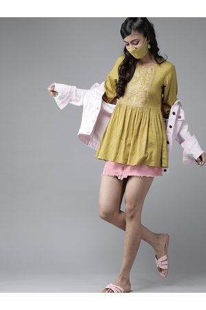 Juniper Women Tunics - Women Olive Green & Golden Liva Polka Dots Print Tunic