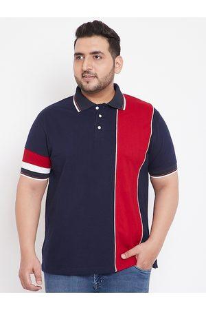 Bigbanana Men Navy Blue Colourblocked Polo Collar T-shirt