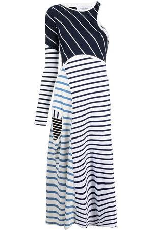 Marine Serre Women Dresses - Striped cut-out asymmetric dress