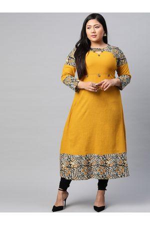 Yash Gallery Women Plus Size Mustard Yellow Ethnic Printed Detail Keyhole Neck Kurta