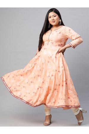 Yash Gallery Women Plus Size Peach-Coloured Ethnic Motifs Print Anarkali Kurta
