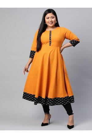 Yash Gallery Women Plus Size Orange Printed Detail A-Line Kurta