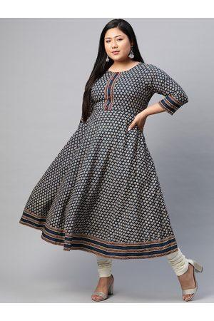 Yash Gallery Women Kurtas - Women Plus Size Navy & Beige Ethnic Motifs Print Anarkali Kurta