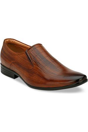 Azzaro Men Tan Textured Formal Slip-On Shoes