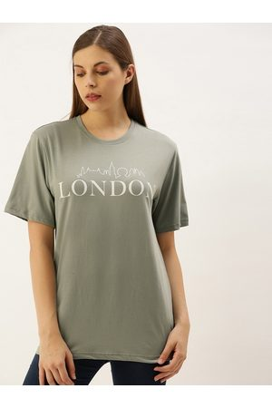 DILLINGER Women Grey Loose Fit Printed Round Neck Longline T-shirt