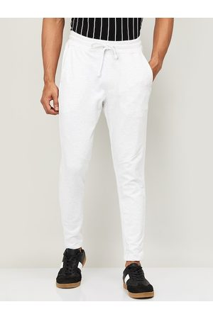 Lifestyle Men White Solid Slim-Fit Track Pants
