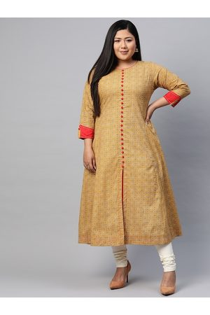 Yash Gallery Women Plus Size Mustard Yellow & Off-White Ethnic Motifs Printed Kurta