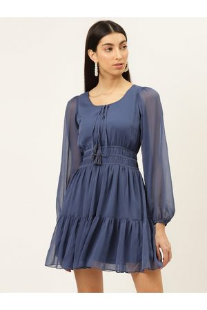 20Dresses Women Blue Solid Tiered Fit & Flare Dress
