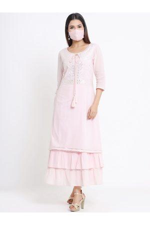 Juniper Women Pink Embellished Ethnic Maxi Dress With Matching Mask