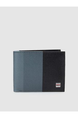 Tommy Hilfiger Men Black & Grey Striped Genuine Leather Two Fold Wallet