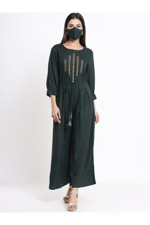 Juniper Women Green & Gold-Colour Embroidered Basic Jumpsuit