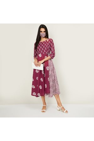 Biba Women Printed Three-Quarter Sleeves A-line Dress with Face Mask