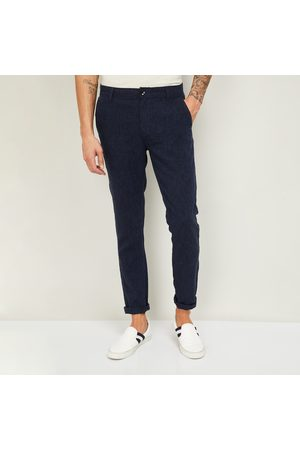 Fame Forever Men Striped Slim Tapered Fit Trousers