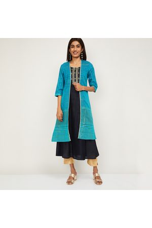 AURELIA Women Printed A-line Kurta with Longline Jacket