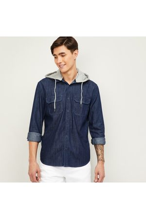Forca Men Hooded Denim Casual Shirt with Hoodie
