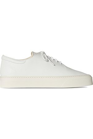 The Row Marie H Lace Up Leather Sneakers in Snow