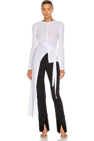 ROSETTA GETTY Long Sleeve Apron Wrap T Shirt in