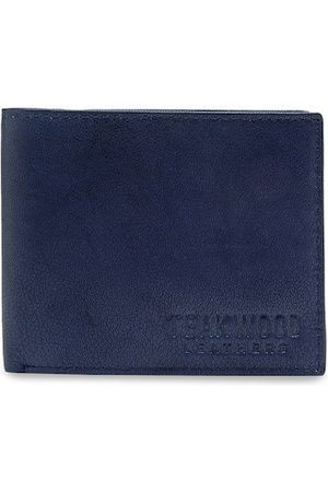 Teakwood Leathers Men Navy Blue Solid RFID Leather Two Fold Wallet