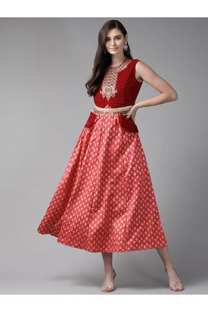 Juniper Women Red Printed Maxi Dress