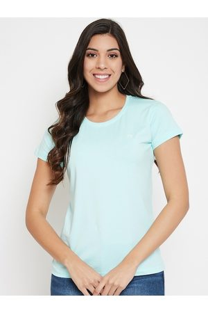 Okane Women Turquoise Blue Solid Round Neck T-shirt