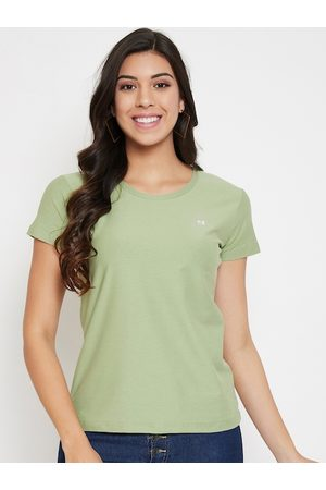 Okane Women Green Solid Round Neck T-shirt
