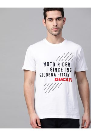 Ducati Men White & Black Printed Round Neck T-shirt