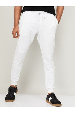 Lifestyle Men White Solid Slim-Fit Joggers