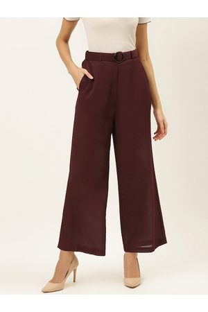 20Dresses Women Maroon Comfort Fit Solid Parallel Trousers