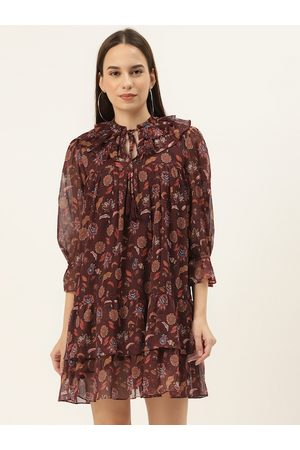 20Dresses Women Maroon Printed Tiered A-Line Dress