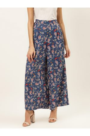 20Dresses Women Blue & Peach-Coloured Comfort Fit Printed Parallel Trousers