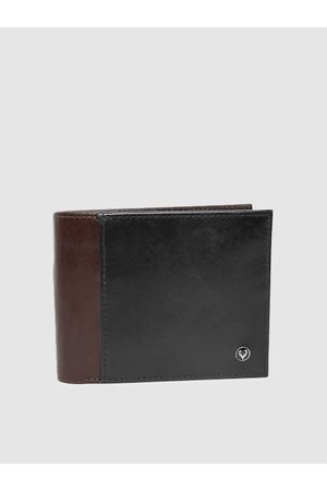 Allen Solly Men Black & Brown Colourblocked Leather Two Fold Wallet