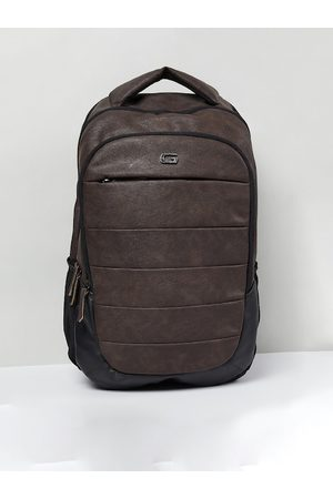 Max Collection Men Brown & Black Solid Backpack