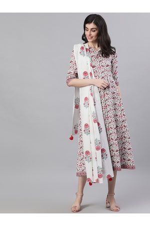 Nayo Women White Printed Cotton A-Line Dress with Dupatta